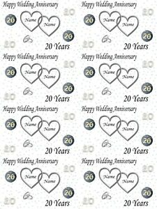 Personalised Platinum 20th Wedding Anniversary Wrapping Paper ADD NAMES & DATE