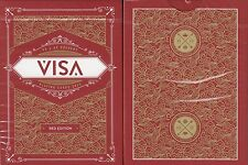 Visa Red Gold Playing Cards Poker Size Deck USPCC Custom Limited Edition New