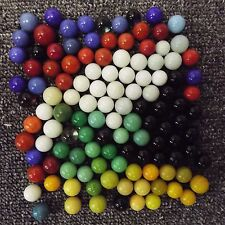 Glass Marbles (115) In Assorted Mostly Solid Colors Several Different Sizes