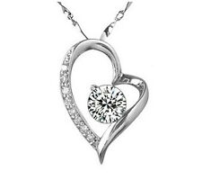 925 Solid Sterling Silver Diamond Created Wedding Bridal Heart Necklace N208