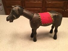 """Antique Schoenhut Circus Donkey Glass Eyes Red Blanket 8"""" Tall Used"""