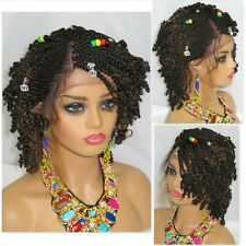 """Braided Wigs 4"""" by 4"""" Lace Front Half Cornrows Short Wig Handmade Black"""