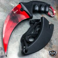 CSGO Tactical Karambit Neck Knife Survival Hunting Fixed Blade  Red Ruby Doppler