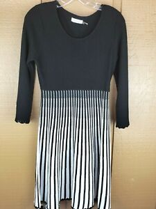 Calvin Klein Fit & Flare Knit Dress Small Black/White Long Sleeve Pullover