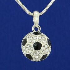 """BALL SOCCER FOOTBALL MADE WITH SWAROVSKI CRYSTAL FAN PLAYER PENDANT 18"""" CHAIN"""