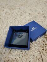NWT Authentic Swarovski Rhodium Sparkle Crystal Iconic Swan Pendant Necklace