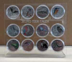 Österreich 3 Euro Tier-Taler  2016 - 2019 komplett (12 Stück) im Acrylgestell
