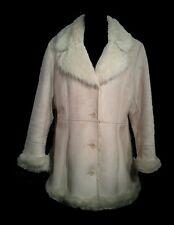 Women's Coat Faux Shearling MIXIT Fur Collar-Cuff-Hem Button Down Coat, Cream M