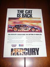 1989 MERCURY COUGAR RACE CAR DAYTONA 24 HOUR  - ORIGINAL AD