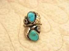 Vintage Sterling Silver Turquoise Leaf Design Navajo Ring Hallmark P Size 7.25