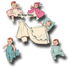 "Vintage 1950s Baby Doll Clothes Pattern ~ for 8"" 9"" Ginnette, Ginny, Dy Dee Baby"