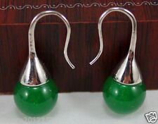 fashion new natural Green jade Silver Earrings