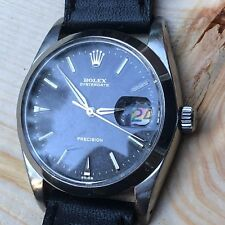 UNPOLISHED Vintage Rolex Oysterdate 6694 Black Gilt SWISS Only Dial Men Watch
