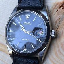 UNPOLISHED Vintage Rolex Oysterdate 6694 Black Gilt SWISS Only Dial Men Watch