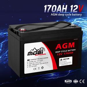 MOBI 170AH 12V AGM Deep Cycle Battery Camping Marine 4WD Solar SLA Lead Acid