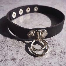 Double O Ring Leather Collar Punk Rock Classic Dark Harajuku Choker Necklace
