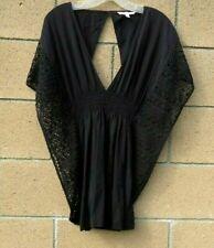 Victorias Secret Boho Festival Black Crochet Lace Blouse Peasant Top XS