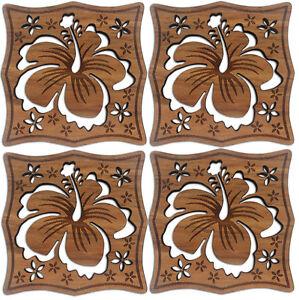 Hawaiian Wood Coasters Set Of 4 Hawaii Hibiscus Plumerias Tiki Bar Kitchen NIB
