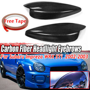 For 2002 2003 Subaru Impreza WRX STI Carbon Fiber Headlight Eyelid Eyebrow Cover