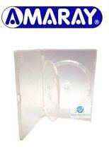 100 x 3 VIE chiaro DVD DA 14 MM DORSO contiene 3 DISCHI VUOTI Nuovo Ricambio Custodia Amaray