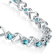 925 Sterling Silver Teal Aquamarine Heart Cubic Zirconia Tennis Bracelet CZ Love