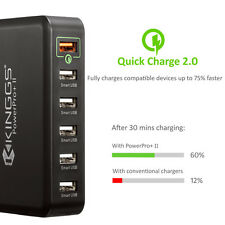60W 12A 6 Port Fast Smart Desktop USB Charger for iPhone iPad Android, KINGSS