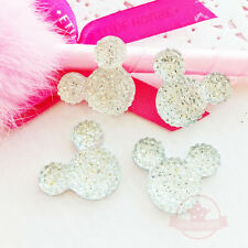 4 pcs Mickey Mouse Crystal Clear Glitter Resin Rhinestone 18mmx23mm Flat back