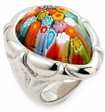 ALAN K. MULTICOLOR MURANO GLASS FACETED PEAR SHAPE RING WITH ELECTROFORM SILVER