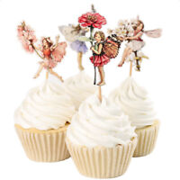 120pcs Set Fairy Girls Flowers Cupcake Muffin Toppers Baby Shower Favor