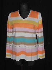 LAURA KENT Damen Feinstrick Pullover gestreift Gr.44 mehrfarbig  ##R12