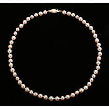 Japanese Salt Water Cultured White-Pink Rosé Pearl Necklace 7 - 7 1/2 mm, 18""