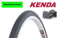 1 x 27 x 1 1/4 Road Bike Black Tyres Traditional Racing KT09 + Presta tube