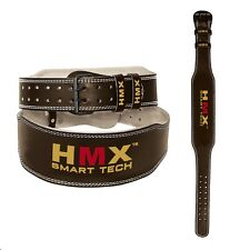"""HMX WEIGHT LIFTING BELT WEIGHTLIFTING BODYBUILDING GYM BACK SUPPORT LEATHER L 4"""""""