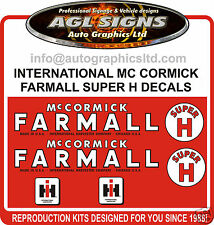 INTERNATIONAL MC CORMICK SUPER H TRACTOR DECAL SET, reprocduction