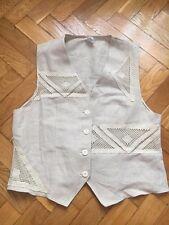 Beige Linen Vest Waistcoat embroidery Sz UK 14, EU42