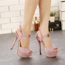 Women Peep Toe Stilettos Slingbacks Platform Ankle Buckle High Heels Shoes Size8