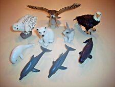 Safai Ltd. Animal Lot ~ Owls and Eagle, Dolphin, Whale, Polar Bear, Bunny