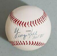 Tigers George Kell Signed OL Baseball Inscription Auto Autograph JSA
