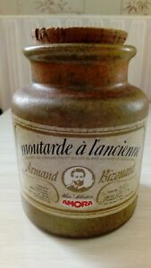 Ancien pot moutarde en grès Amora Armand Bizouard