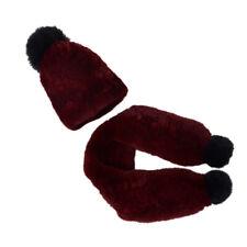 Children Real Rex Rabbit Fur Hat + Scarf Boys Soft Warm Stretch Beanie Cap