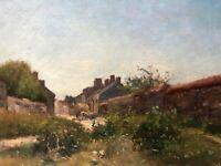Tableau Peinture Ancienne Huile sur Toile signé XIXème, Paysage, Village, Paysan
