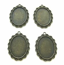 4 Ant Goldtone Brass color Lace style 40mm x 30mm CAMEO PENDANTS Frames Settings