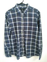 21 MEN Mens Size Large Gray Blue White Plaid Long Sleeve Button Up Flannel Shirt