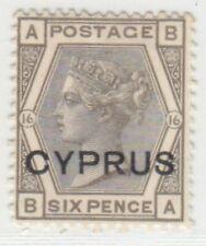 CYPRUS  1880  ISSUE  SIX PENCE UNUSED STAMP SG.5 PLATE 16 = SCOTT 5  RRR