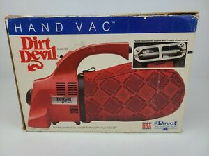 Vintage Royal Dirt Devil HAND VAC Handheld Red Vacuum MODEL 103 With Box