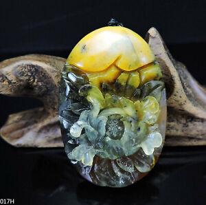 100% Natural Hand-carved Jade Pendant Jadeite Necklace peony flower 017H