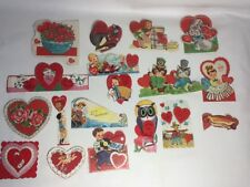 Vintage Valentines Lot of 18 1950's & 60's Glitter on All~ Used.