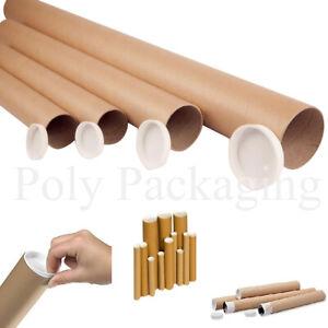 POSTING TUBES Cardboard A0/A1/A2/A3/A4 *ANYQTY/LENGTH + End Caps Postal Postage