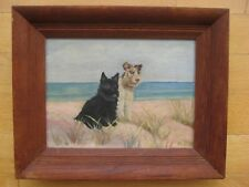 ANTIQUE AMERICAN IMPRESSIONIST DOGS BEACH OIL PAINTING SIGNED FRAMED VINTAGE OLD