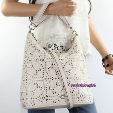 NWT Coach Mini Studded Celeste Leather Convertible Hobo Bag F35203 Chalk White